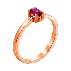 Кольцо из красного золота с рубином и бриллиантами 000137697