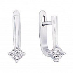 Золотые серьги Дасти в белом цвете с бриллиантами