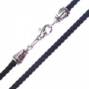 Чорний шовковий шнурок зі срібною застібкою, 3мм 000045888