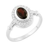 Серебряное кольцо Николина с гранатом и фианитами