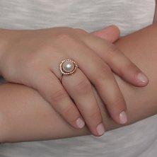Золотое кольцо с жемчугом и цирконием Тина
