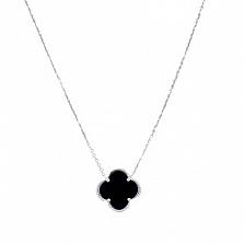 Колье из серебра Стильный цветок с ониксом
