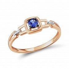 Кольцо из золота Рианна с сапфиром и бриллиантами