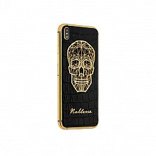 Apple IPhone XS MAХ Noblesse GOLD PLATED SKULL в черной коже c черепом из золота
