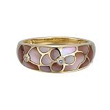 Кольцо Инна из желтого золота с бриллиантами и перламутром