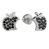 Серебряные серьги-пуссеты  Эпл с чёрным цирконием