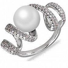Кольцо из белого золота Серпантин с жемчугом и бриллиантами