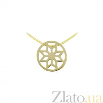 Подвес из желтого золота Алатырь звезда 000026584