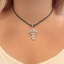 Серебряный крестик Верование с эмалью и фианитами