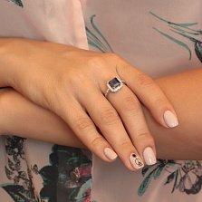 Серебряное кольцо Милана с сапфиром и фианитами
