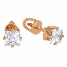 Золотые сережки-пуссеты с цирконием Принцесса