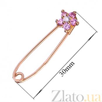 Золотая булавка с розовыми фианитами Маргаритка LEL--09041роз