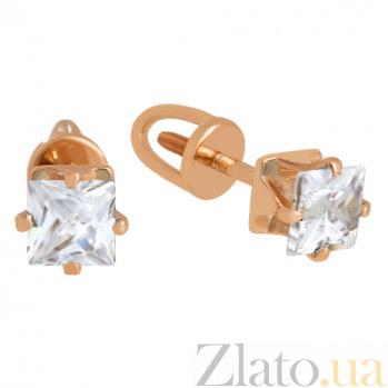 Золотые сережки-пуссеты с цирконием Принцесса VLN--213-1764
