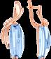 Золотые серьги с голубым топазом и фианитами Линдсей 000024378