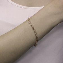 Золотой браслет Нонна в свободном плетении, 4мм
