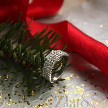Золотое кольцо в белом цвете с фианитами Эстрелья 000023144