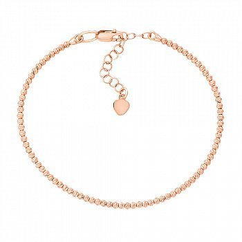 Браслет із червоного золота з рухомими кульками та алмазною гранню 000131598