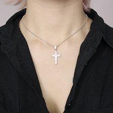 Серебряный декоративный крестик Марко с дорожками белых фианитов