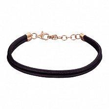 Двойной браслет из гладкой кожи Дабл с золотой застежкой и регулируемой длиной (+3см)