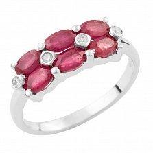 Серебряное кольцо Рафаэла с рубинами и фианитами