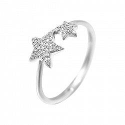 Кольцо из белого золота Две звезды с бриллиантами