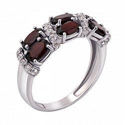 Серебряное кольцо с гранатами и фианитами 000010796