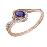 Кольцо из красного золота Альбина с аметистом и бриллиантами