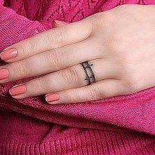Серебряное кольцо Одетт с чёрным цирконием