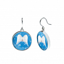 Серебряные серьги  с муранским стеклом Амалия