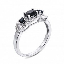 Кольцо из белого золота с сапфирами и бриллиантами 000134780
