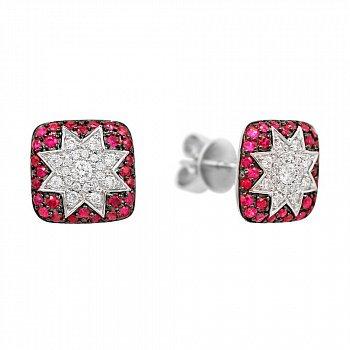 Серьги-пуссеты из белого золота Звезда эльфов с рубинами и бриллиантами 000081264