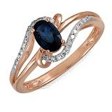 Кольцо Эстель из красного золота с бриллиантами и сапфиром