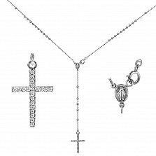 Колье из белого золота Вера и сила с ладанкой и крестиком с бриллиантами