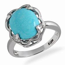 Кольцо в белом золоте Елена с бирюзой и бриллиантами