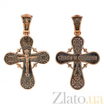 Крестик из красного золота Православное распятие VLT--КС1-3060-3