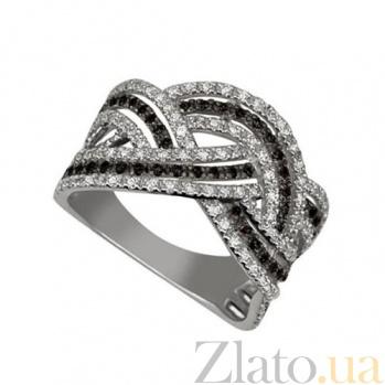Кольцо из белого золота с белым и черным цирконием Вивьен VLT--ТТТ1077