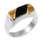 Серебряное кольцо с золотой вставкой и ониксом Джентльмен
