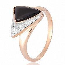 Позолоченное кольцо из серебра Китнисс с ониксом и фианитами