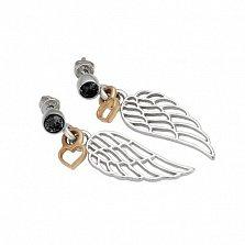 Серебряные пуссеты-подвески Любовь к полету с цветным родированием и черными фианитами