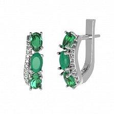Серебряные серьги Таиса с зеленым агатом, зеленым кварцем и фианитами