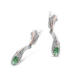 Серебряные серьги-подвески Лилия с золотыми накладками, зеленым алпанитом и фианитами