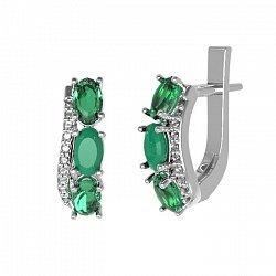 Серебряные серьги Таиса с зеленым агатом, зеленым кварцем и фианитами 000063725