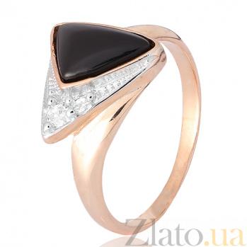 Позолоченное кольцо из серебра Китнисс с ониксом и фианитами 000028445