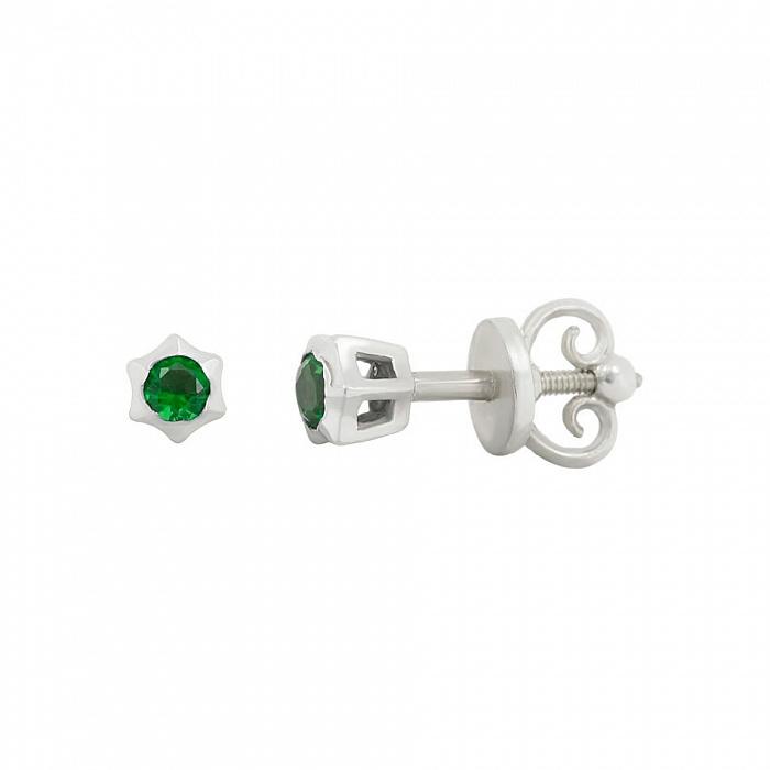Серебряные серьги-пуссеты Эми с зеленым цирконием 000081820