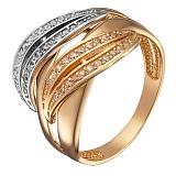 Золотое кольцо Тандем с дорожками фианитов