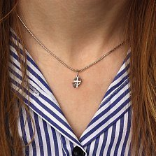 Серебряная подвеска Вера Надежда Любовь с сердцем, крестиком и якорем