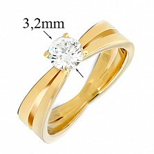 Кольцо из желтого золота с бриллиантом Мгновения любви, 3,2мм