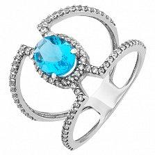 Серебряное кольцо Алексия с голубым кварцем и цирконием