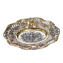 Серебряная конфетница Танец ангелов с позолотой