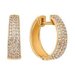 Серьги-кольца из желтого золота с фианитами, d 17mm 000106175
